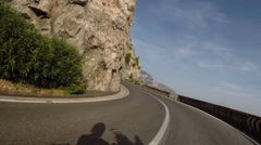 Motorbike riding on the Amalfi Coast in Italy Stock Footage