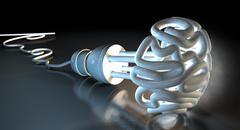 Brain flourescent light bulb Stock Illustration