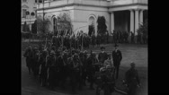 French Foreign Legion members marching out of White House Stock Footage