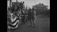 President  Woodrow Wilson and  Newton D. Baker  reviewing army units Stock Footage
