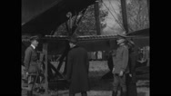 Sec. Newton Baker, Edith Wilson and Gen. March inspecting Handley Page biplane Stock Footage