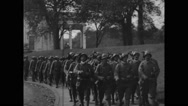 Military Soldiers and Officers marching in funeral procession Stock Footage