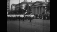 Troops marching at Army Day parade Stock Footage