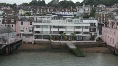 Pov from ferry, west cowes buildings, isle of wight, england Stock Footage