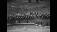 View of military soldiers marching in funeral procession Stock Footage
