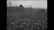 View of crowd attending the funeral Stock Footage