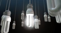 leadership hanging lightbulb - stock illustration