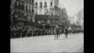 French soldiers riding horse during parade in Lille city Stock Footage