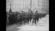 French allied troops, infantry, artillery and cavalry units marching at parade Stock Footage