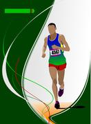 the running man. track and field. raterized copy. vector into portfolio - stock illustration