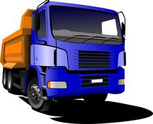 Blue yellow  truck. lorry. trailer. vector illustration Stock Illustration