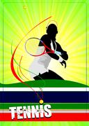 woman tennis player poster. vector illustration for designers - stock illustration