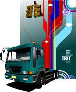 abstract hi-tech background with green lorry image. vector illustration - stock illustration