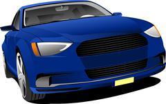 Blue car sedan on the road. vector illustration Stock Illustration