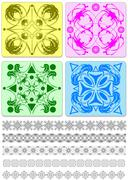 collection of ornamental rule lines and tiles. vector illustration - stock illustration