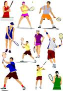 Stock Illustration of big collection of tennis player silhouettes. vector illustration