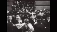 People celebrating at President Wilson Station Stock Footage