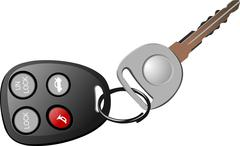 car key with remote control isolated over white background - stock illustration