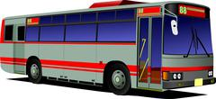 blue-red city bus. coach. vector illustration - stock illustration