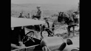 Military soldier riding artillery caisson and working at Mexico-US Border Stock Footage