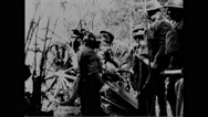 Military soldiers loading cannon at Fort Bliss Stock Footage