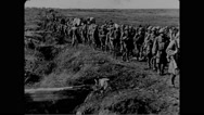 Military soldiers marching and constructing bridge Stock Footage