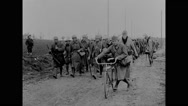 Military soldiers marching and constructing pontoon bridge Stock Footage