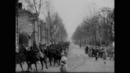 Military troops riding horse cart Stock Footage