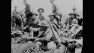 Military troops resting and smoking Stock Footage