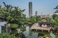 Pagoda temple pond kowloon walled city park hong kong Stock Photos