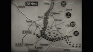 Animated map showing location of the allied troops along Somme river Stock Footage
