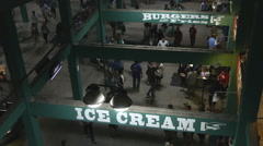 Crowds Walking Concession Stands Stock Footage