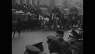 People watching parade of horse cart in Central Park Stock Footage
