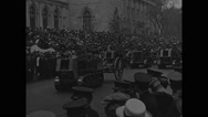 People watching parade of land vehicles in Central Park Stock Footage