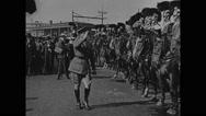 General John J Pershing saluting to parade Stock Footage