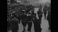 General John J Pershing walking with officers Stock Footage