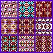 Stock Illustration of set of different violet colour seamless vintage geometric