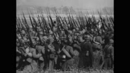 Military soldiers walking with rifles and swords Stock Footage