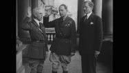 Douglas MacArthur taking oath in front of Patrick J. Hurley and military officer Stock Footage