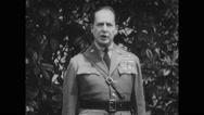 Douglas MacArthur giving a speech Stock Footage