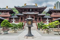 chi lin nunnery courtyard kowloon hong kong - stock photo
