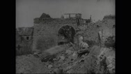 View of damaged houses in Lassigny Stock Footage
