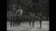General Henri Gouraud saluting a battalion of army engineers Stock Footage