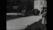 Marshal Ferdinand Foch and President Raymond Poincare walking together Stock Footage