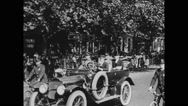 Vice President Marshall and General John J Pershing travelling by land vehicle Stock Footage