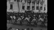 People watching horse parade Stock Footage