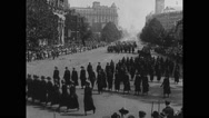 Women marching in parade Stock Footage