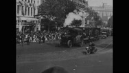 People watching steam engine Stock Footage
