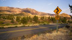 curves frequent two lane highway john day fossil beds - stock photo