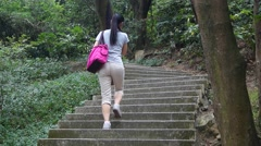 In the mountain tourism China women Stock Footage